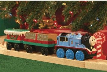 Thomas around the christmas tree train set